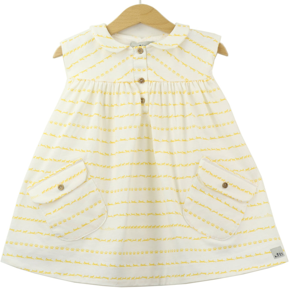 Peter Pan Collar Jersey Dress, Iberian Lynx print, Yellow Lynx on white background - front