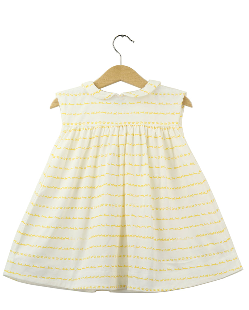 Peter Pan Collar Jersey Dress, Iberian Lynx print, Yellow Lynx on white background - back