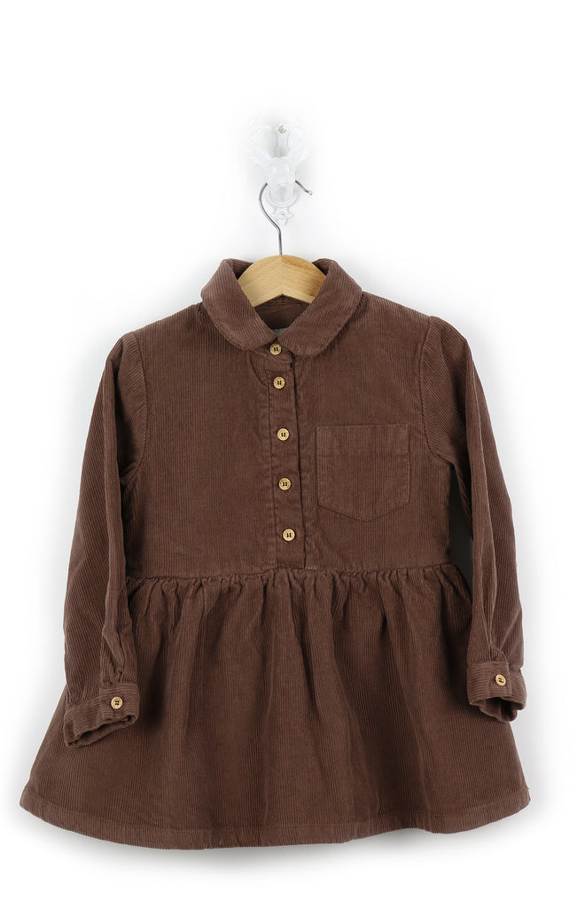 Girls brown dress - corduroy