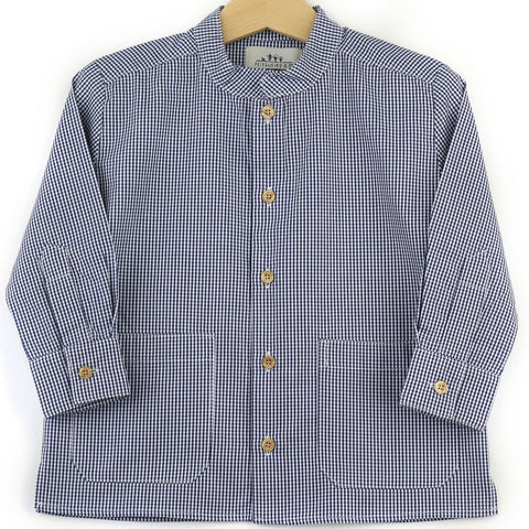 Mandarin collar shirt | Navy Vichy