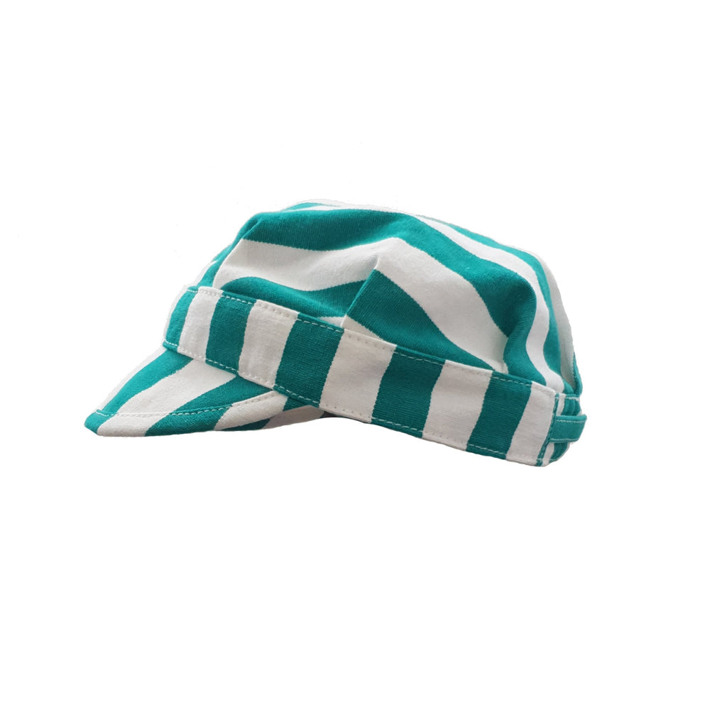 Cotton Breton Cap | Green Stripes Canvas