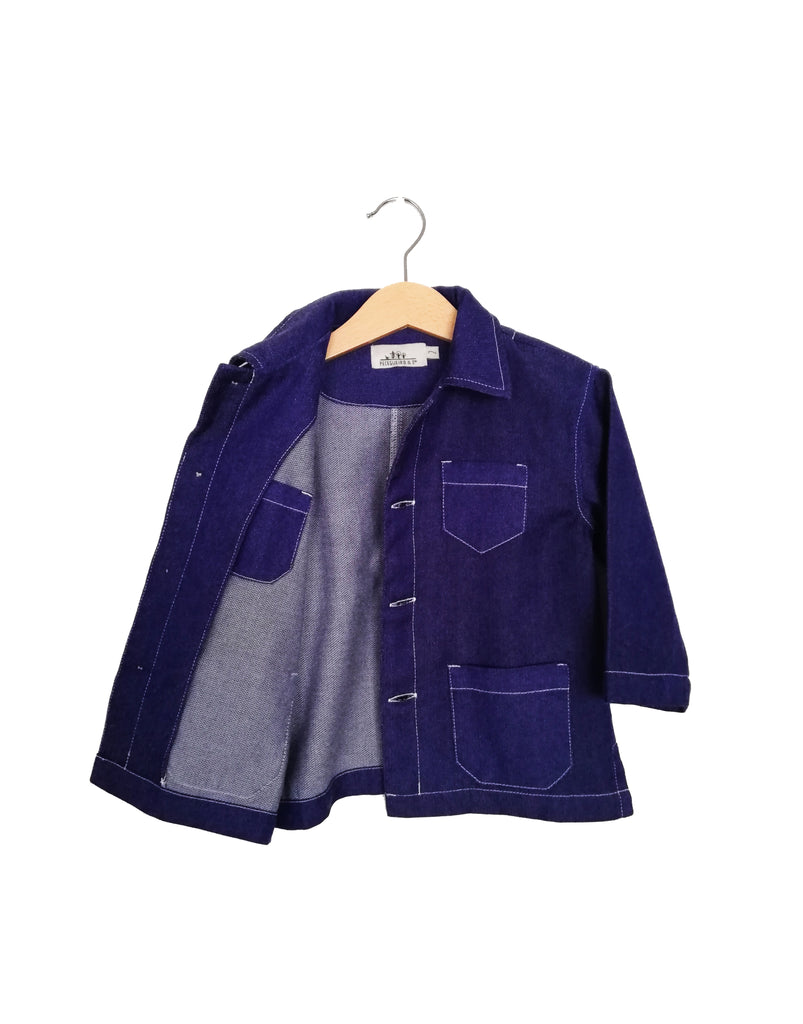 Cotton Wool Workwear Jacket | Denim Blue