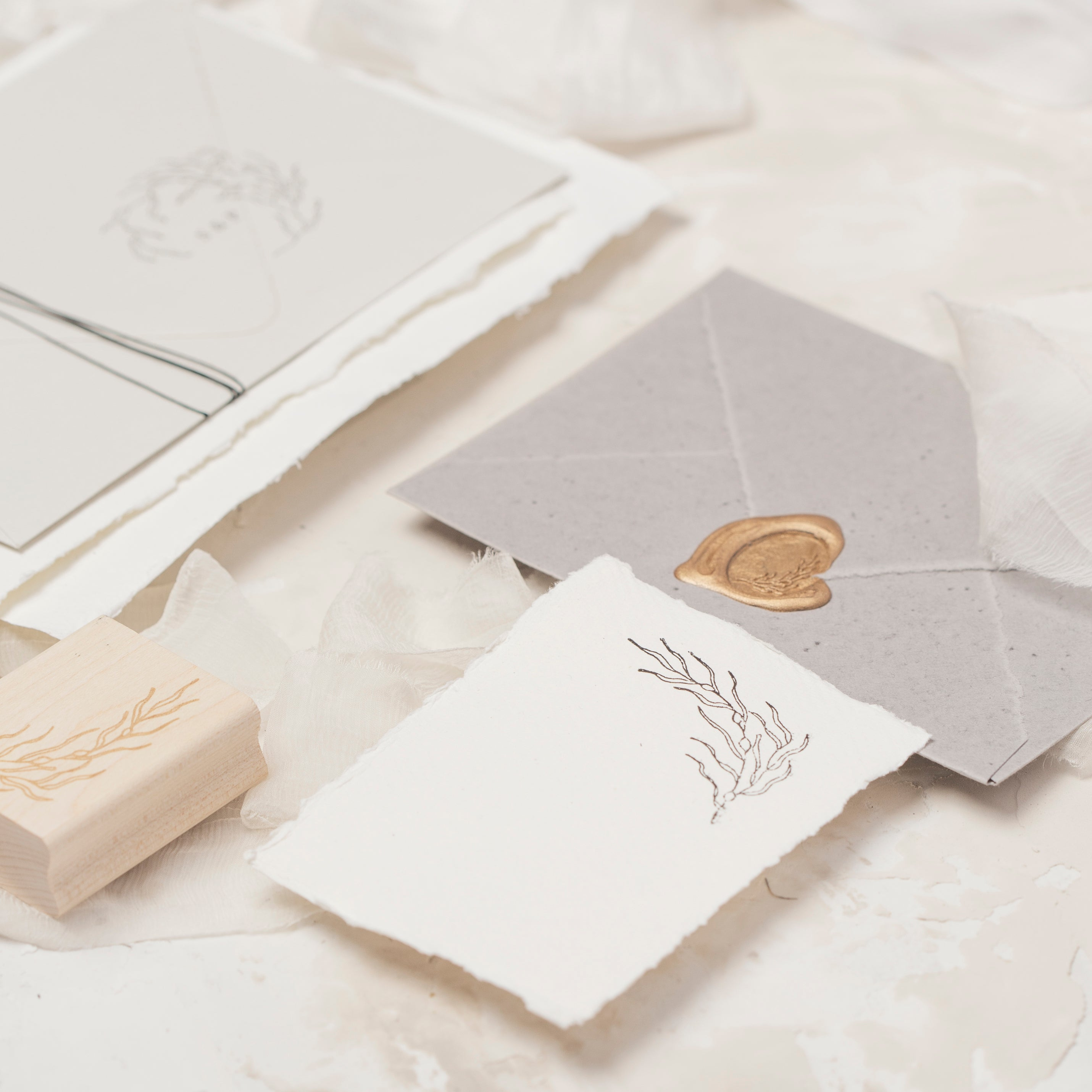 Sea Breeze Coastal Wax Seals, Rubber Stamp & Embosser for Wedding Invitations | Heirloom Seals