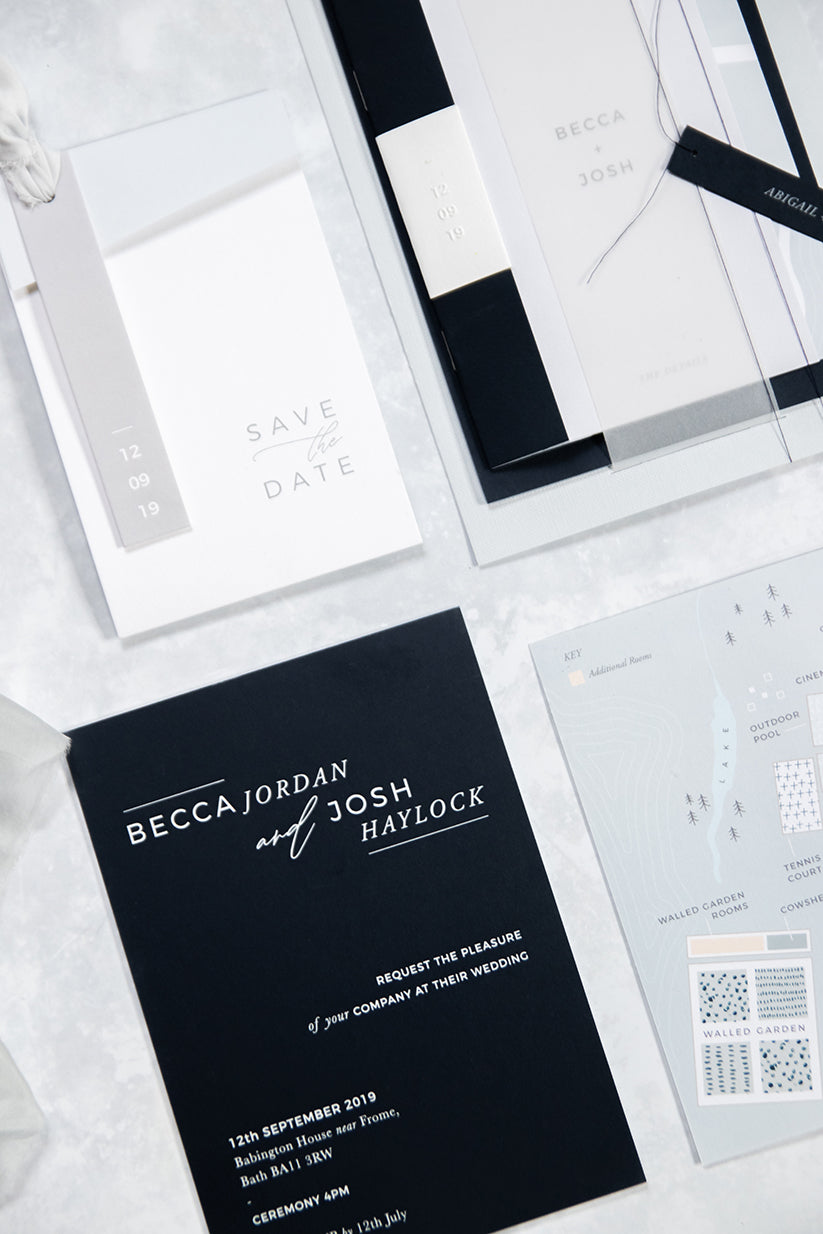 When A Wedding Planner Gets Married - Becca & Josh House of Three | Minimal Monogram Matte White Wax Seals & Save The Date Embosser For Embossed Envelopes & Menu Booklet Invitations | Heirloom Seals