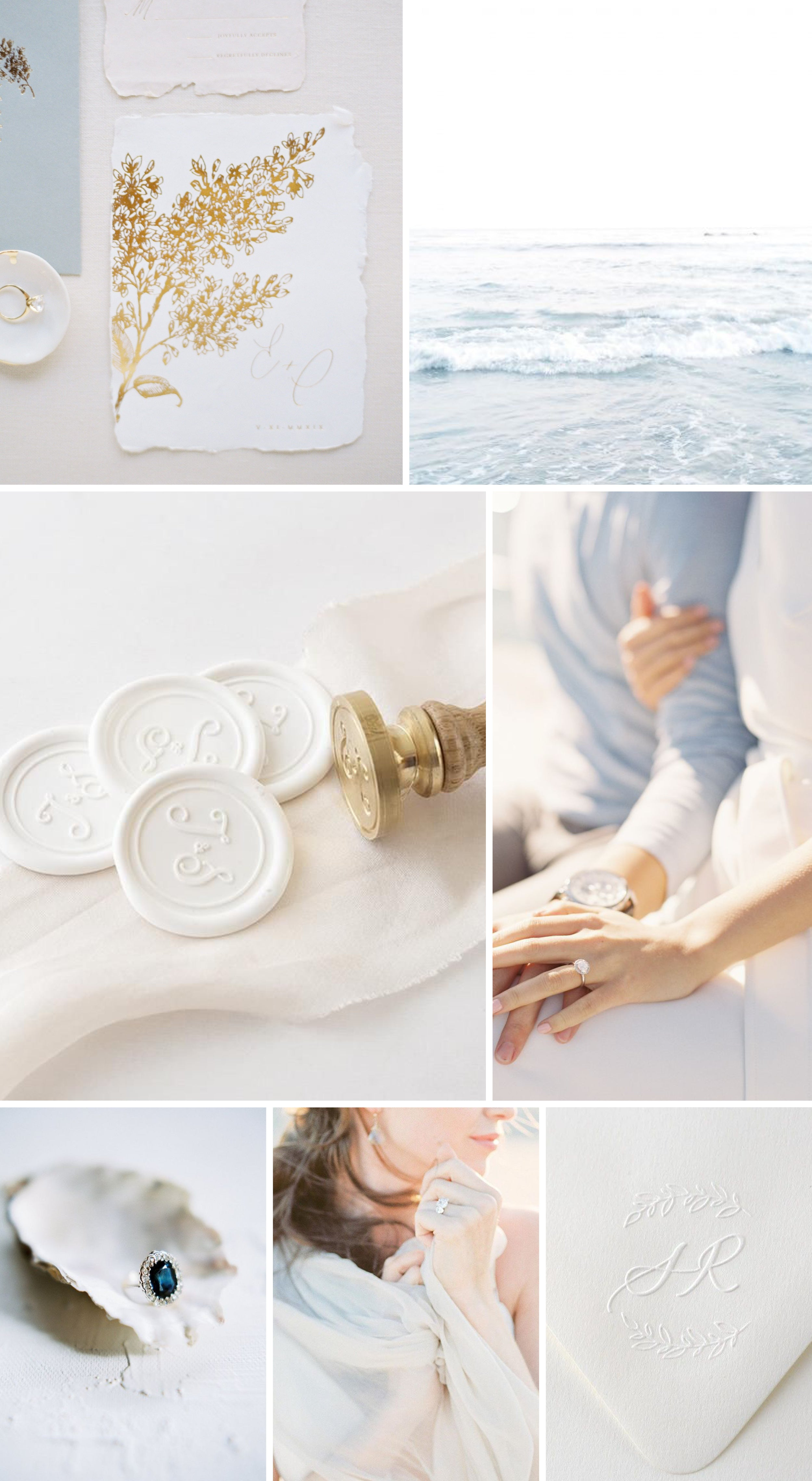 Coastal Wedding Insipration | White Monogram Wax Seals and Botanical Script Calligraphy Embosser | Heirloom Seals