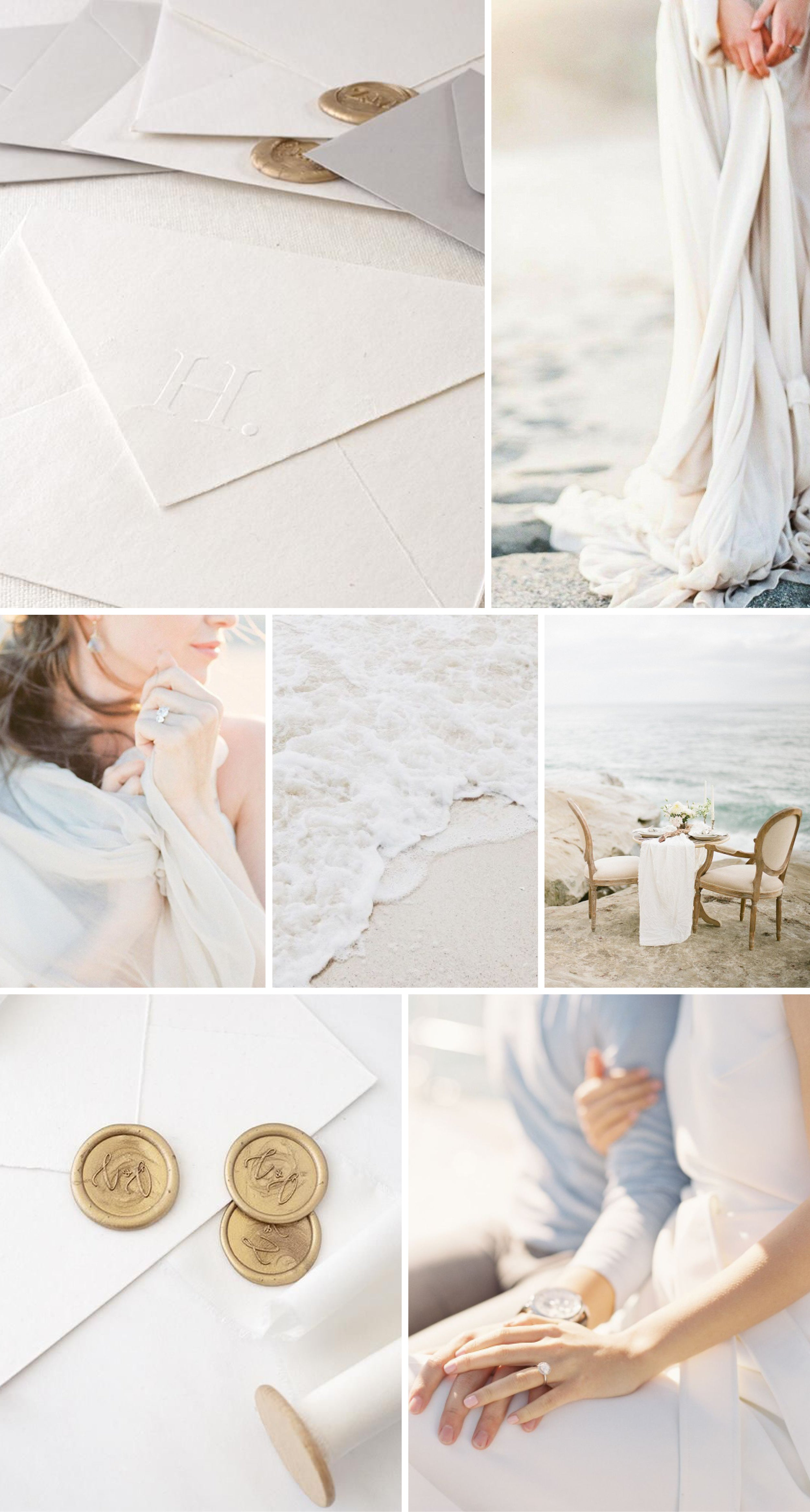 Coastal Outdoor Beach Wedding Inspiration | Monogram Envelope Embosser and Gold Script Adhesive Wax Seals | Heirloom Seals