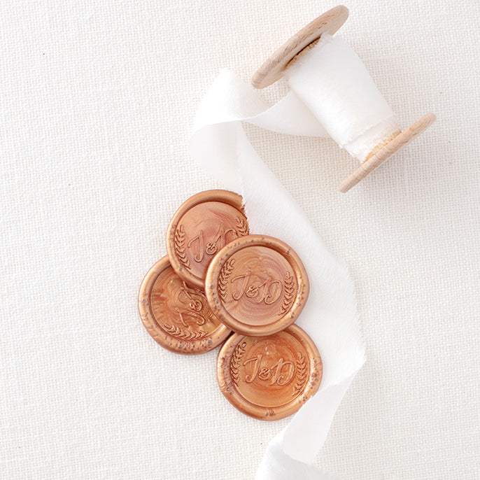 Copper Laurel Botanical Monogram Self-Adhesive Wax Seals for Rustic Barn Wedding | Heirloom Seals