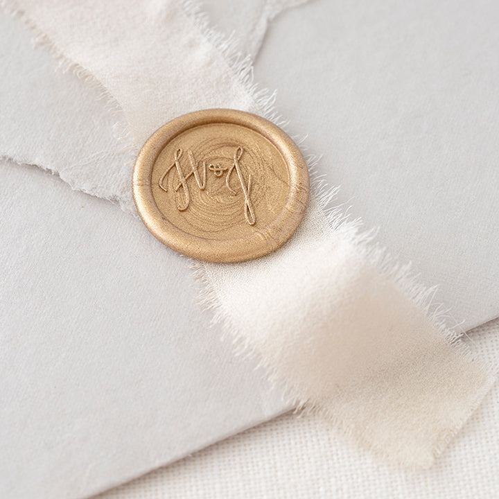 Gold Monogram Self-Adhesive Wax Seal for Fine Art Wedding | Heirloom Seals