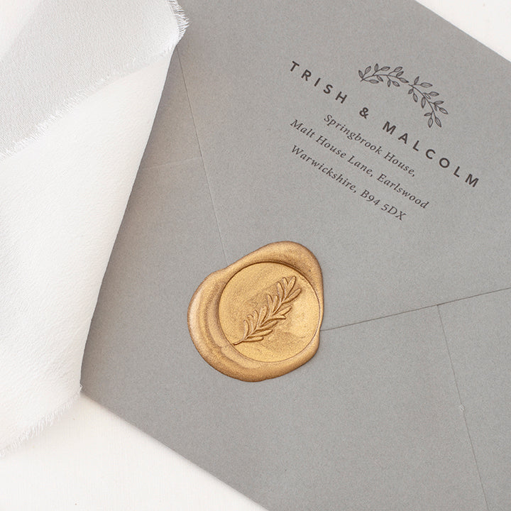 Gold Olive Branch Self-Adhesive Wax Seals for Fine Art Weddings | Heirloom Seals