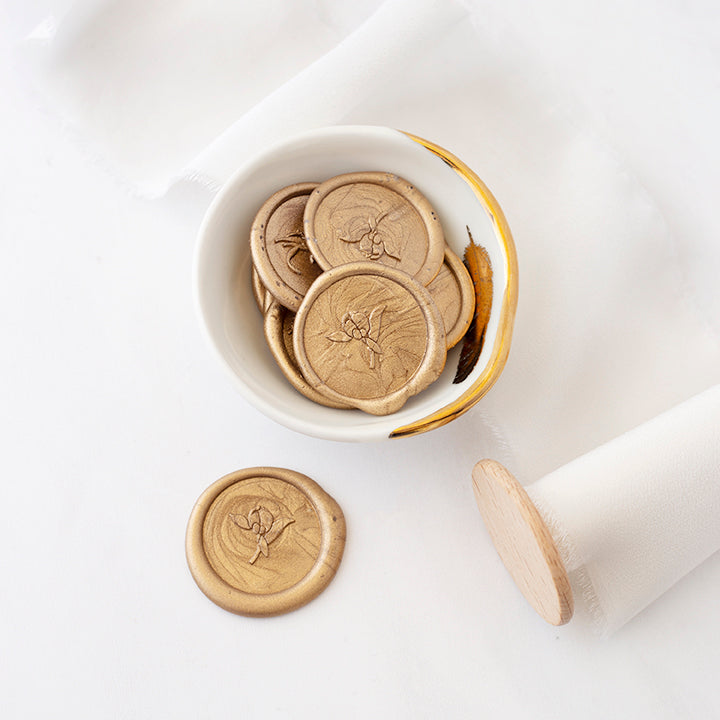 Gold Peony Bud Wax Seals for Fine Art Wedding | Heirloom Seals