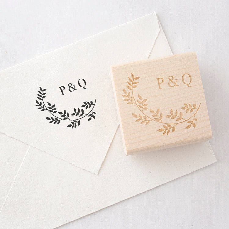 Beatrice Botanical Monogram Rubber Stamp for Fine Art Weddings | Heirloom Seals