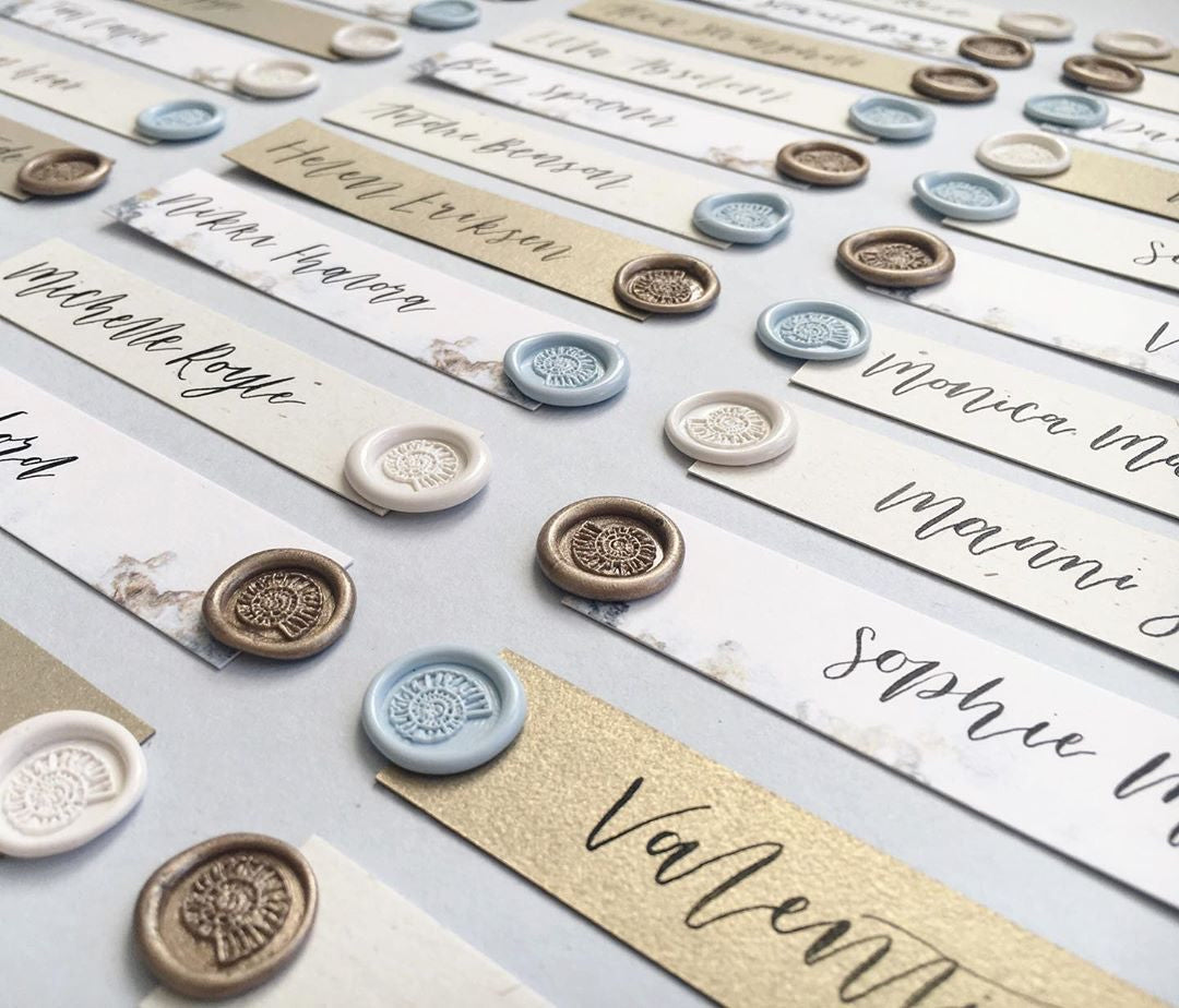 Paperknots Namecards Fossil Wax Seals at The Natural History Museum | Spiral Snail Fossil White, Blue & Gold Self Adhesive Wax Seals | Heirloom Seals