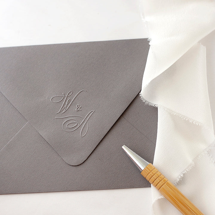 Calligraphy Script Monogram Envelope Embosser for Rustic Barn Wedding | Heirloom Seals