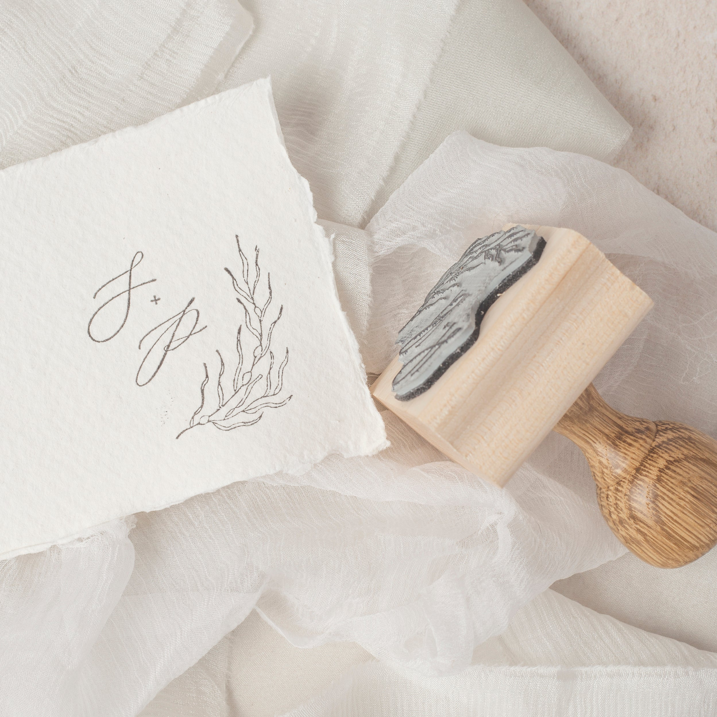 Sea Grass Calligraphy Script Botanical Seaweed Monogram Rubber Stamp | Coastal Beach Wedding Invitations | Heirloom Seals