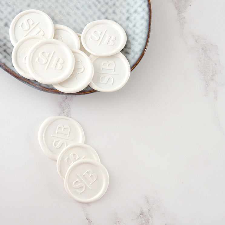 Classic Chic Minimal Monogram White Wax Seals for Fine Art Wedding Invitations and Luxury Brand Packaging | Heirloom Seals