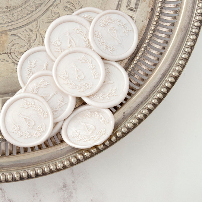 Pearl White Calligraphy Script Monogram Self Adhesive Wax Seals | Heirloom Seals