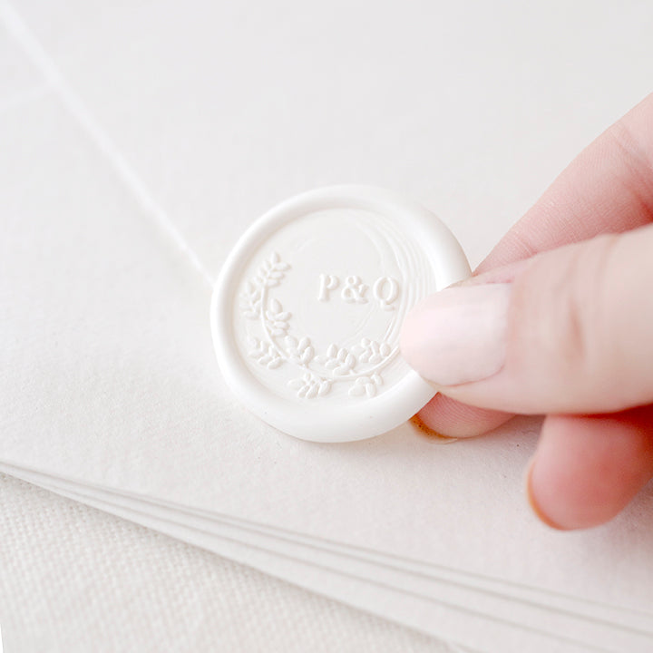 Beatrice Botanical Monogram Self-Adhesive Wax Seals for Fine Art Weddings | Heirloom Seals