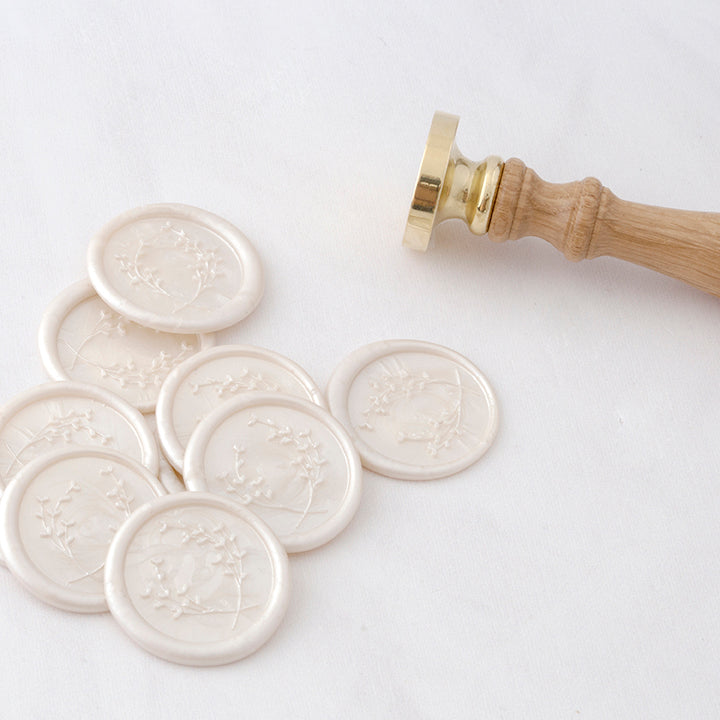 Pearl White Wreath Botanical Wax Seals | Heirloom Seals
