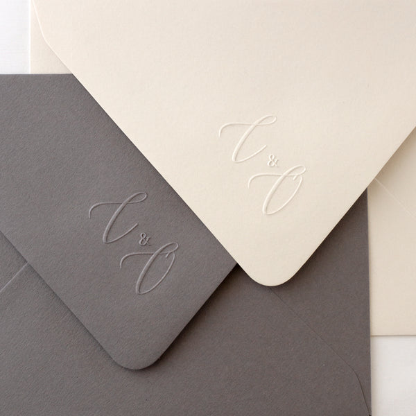 Calligraphy Monogram Embosser | Script Embossed Envelopes | Heirloom Seals