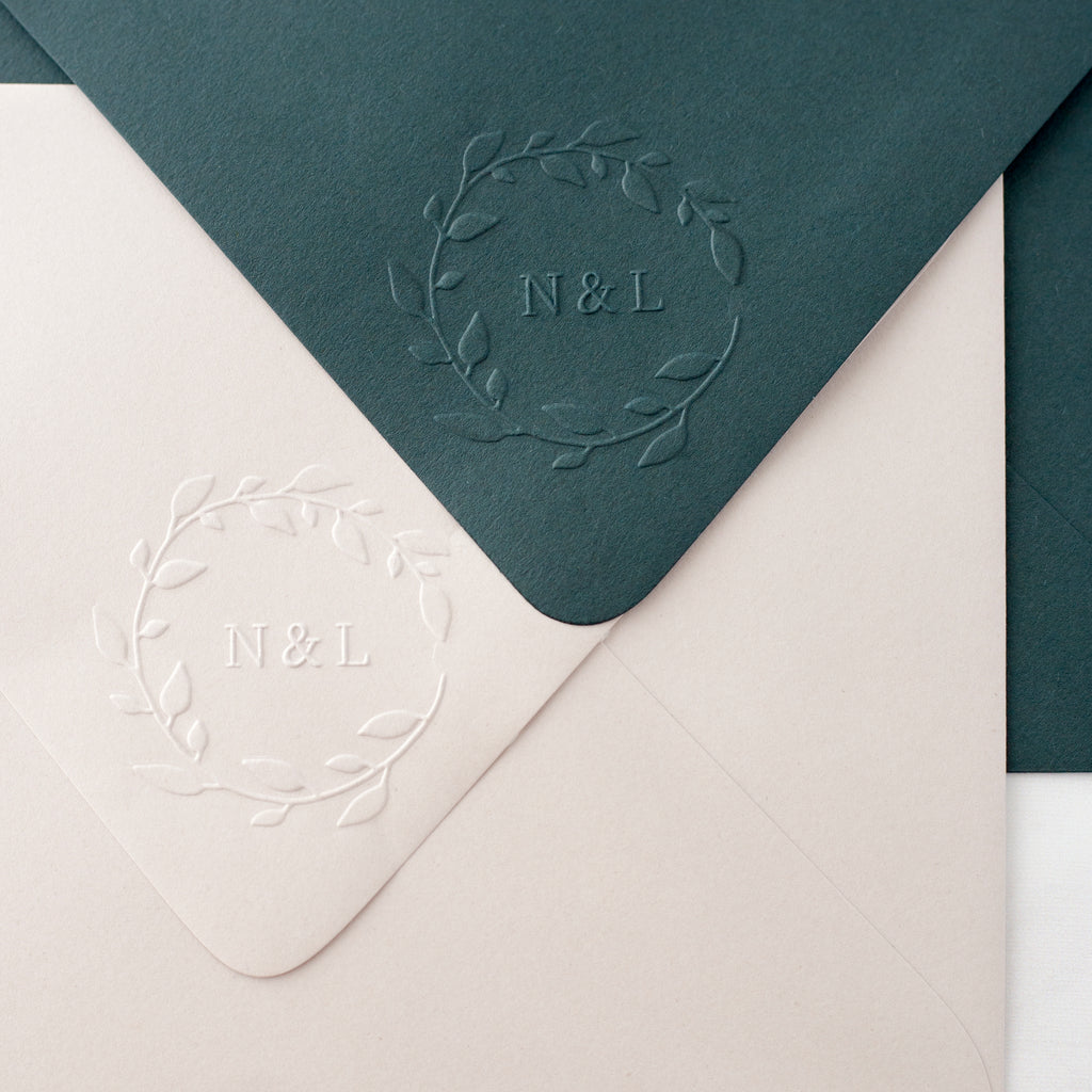 Wreath Leaves Monogram Embosser | Botanical Embossed Envelope | Heirloom Seals