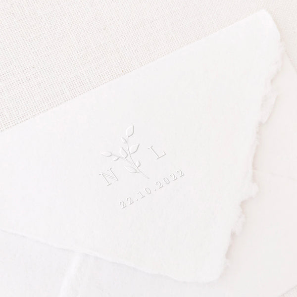 Annabelle Classic Botanical Save The Date Embosser | Handmade Deckled Edge Paper Embossed Envelopes for Fine Art Wedding Stationery Invitations and Custom Luxe Brand Packaging | Heirloom Seals