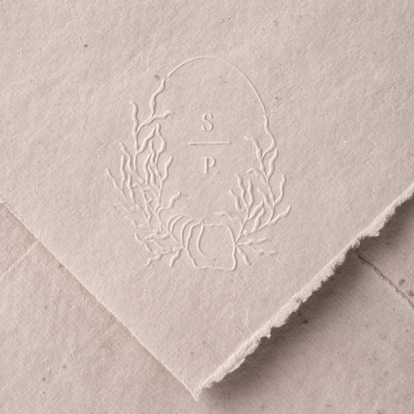 Azalea Monogram Coastal Embosser for Embossed Wedding Invitations | Coastal Beach Wedding | Heirloom Seals