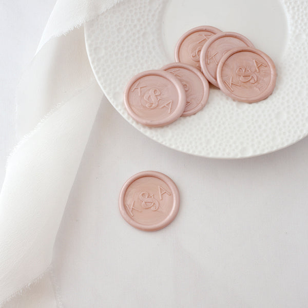 Blush Pink Minimal Monogram Wax Seals | Heirloom Seals