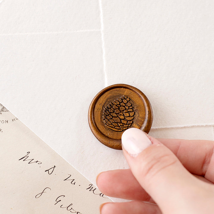 Bronze Pine Cone Wax Seals for Fall Weddings | Heirloom Seals