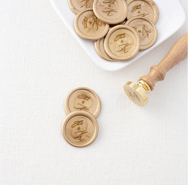 CALLIGRAPHY SCRIPT MONOGRAM SELF-ADHESIVE WAX SEALS - CAMILA
