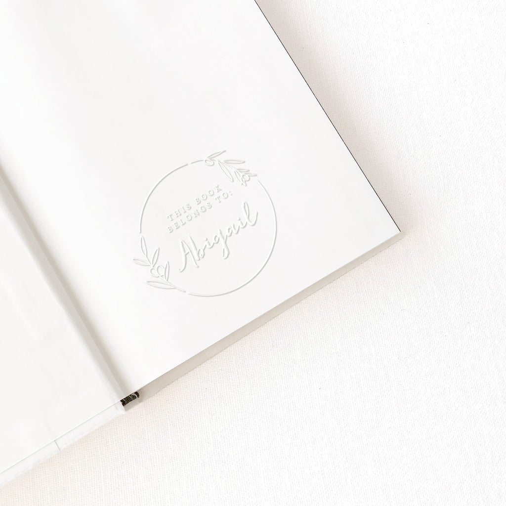 Olivia Botanical Calligraphy Script Library Book Embosser | Custom Wedding Couple, Luxe Packaging Embellishment & Family House Warming Gift of Ex Libre Stamper | Heirloom Seals