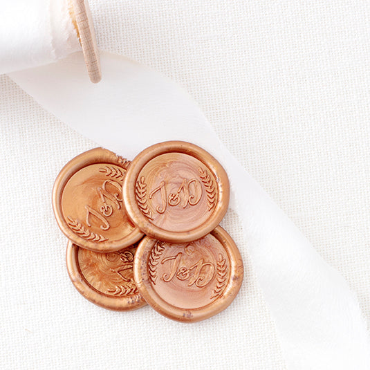 Beautiful Copper Laurel Monogram Wax Seals for Wedding Invitations | Heirloom Seals