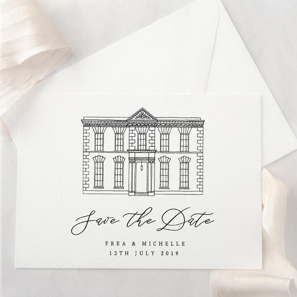 Venue Illustration Save The Date Digital File | Personalised Design for Fine Art Weddings | Heirloom Seals