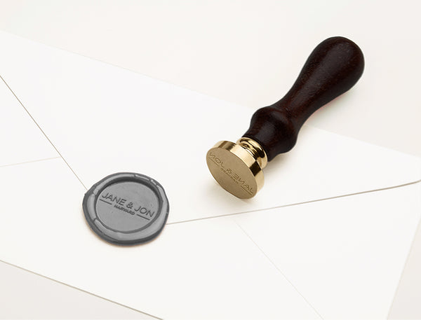 CONTEMPORARY COUPLE MONOGRAM WAX SEAL STAMP - REBECCA