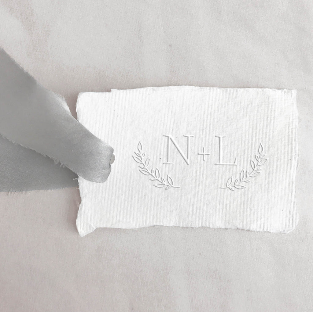Laurel Wreath Monogram Embosser | Botanical Initials Embossed Deckled Paper | Heirloom Seals