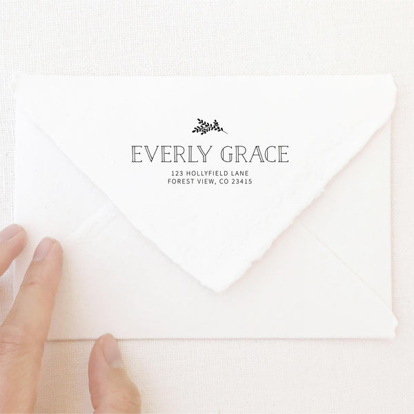 Everly Classic Botanical Return Address Rubber Stamp | Brand Packaging Fine Art Handmade Deckled Edge Paper Wedding Stationery Invitations Envelopes | Heirloom Seals