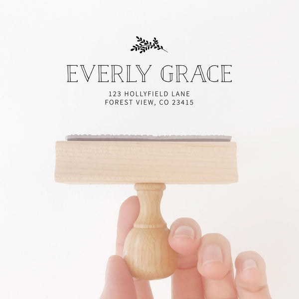 Everly Classic Botanical Return Address | Custom Rubber Stamp Wood for Luxe Packaging & Fine Art Wedding Invitation Stationery | Heirloom Seals