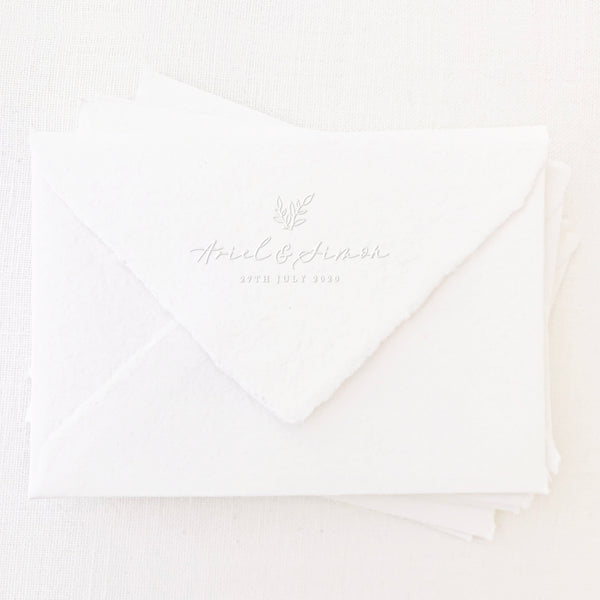 Genevieve Botanical Calligraphy Script Save The Date Embosser | Handmade Deckled Edge Paper Embossed Envelopes for Fine Art Wedding Stationery Invitations and Custom Luxe Brand Packaging | Heirloom Seals