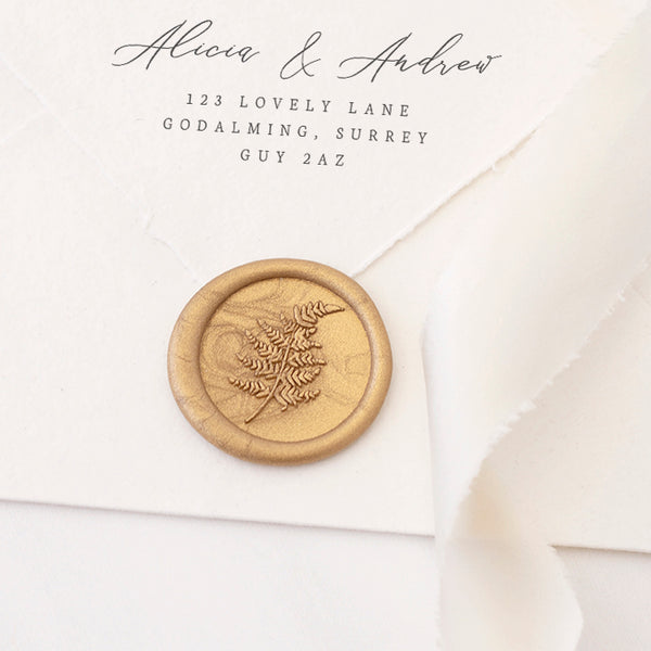 Fern Wax Seal Stamp | Botanical Gold Wax Seals | Heirloom Seals
