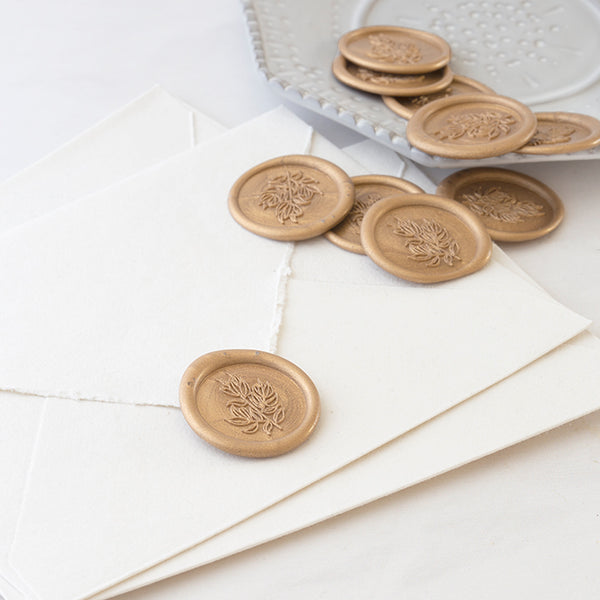 Gold Foliage Self Adhesive Wax Seals | Heirloom Seals
