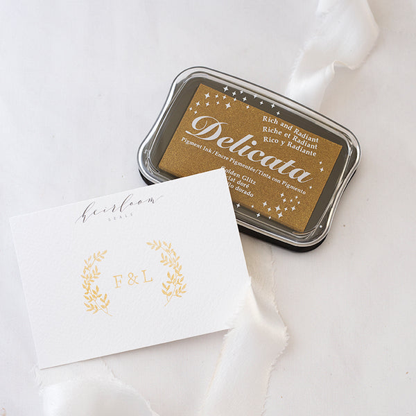 Delicata Golden Glitz Metallic Gold Ink Pad | Heirloom Seals