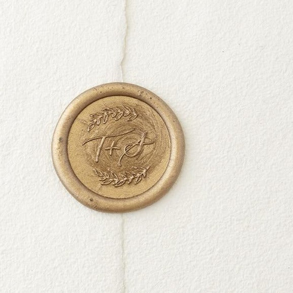 Gold Laurel Monogram Wax Seals | Heirloom Seals