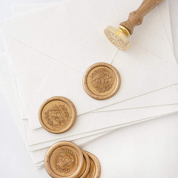 Rustic Monogram Wax Seal Stamp | Botanical Script Wax Seal Stamps | Heirloom Seals