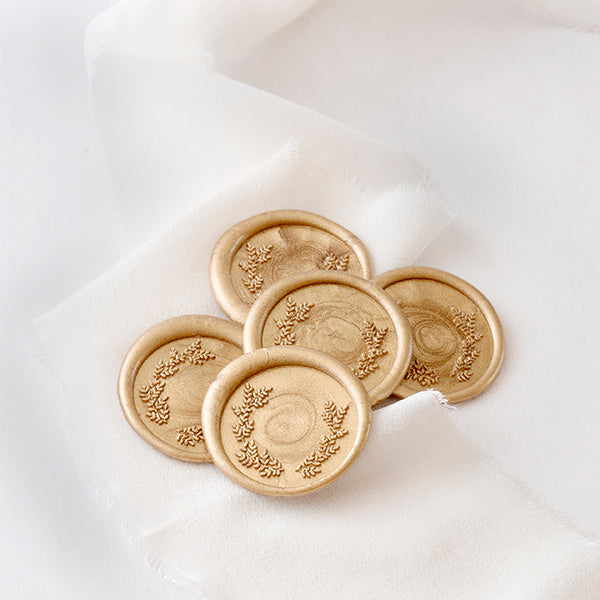 Ethereal Gold Laurel Wax Seals | Botanical Wax Seals | Heirloom Seals