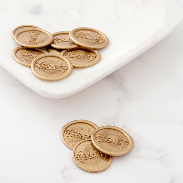 BOTANICAL MONOGRAM SELF-ADHESIVE WAX SEALS - PENELOPE