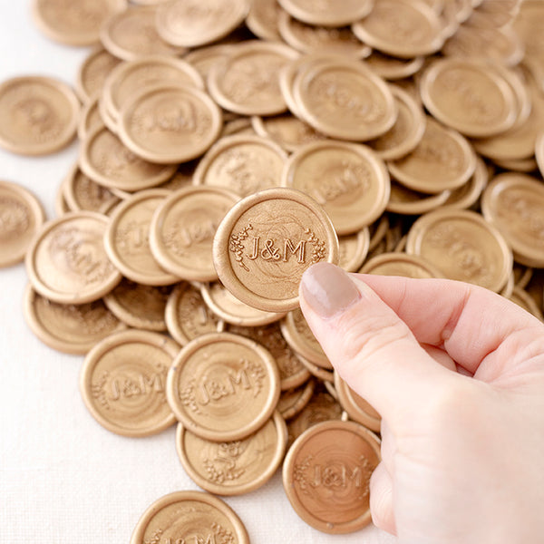 Blush Wreath Monogram Wax Seals | Heirloom Seals