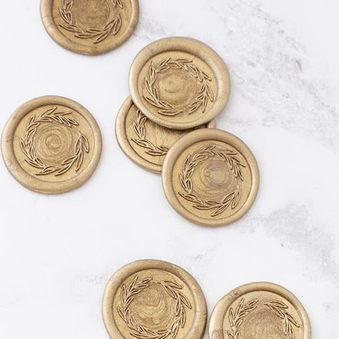 Gold Laurel Wreath Self-Adhesive Wax Seals | Heirloom Seals