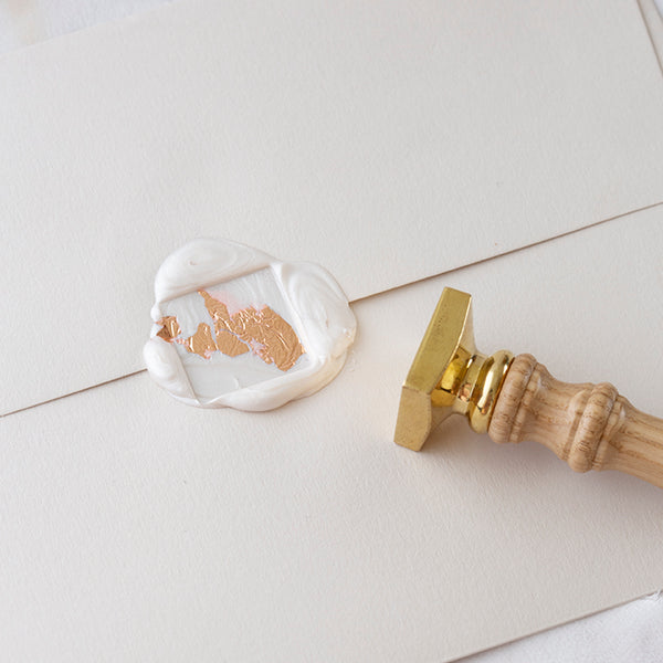 Blank Square Wax Seal Stamp for Fine Art Wedding Invitations | Gold Foil White Wax Seals | Heirloom Seals