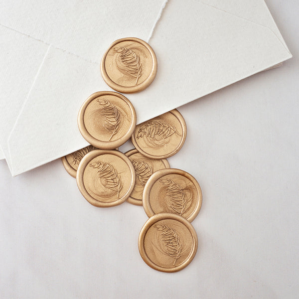 Gold Botanical Leaf Wax Seals for Fine Art Wedding Invitations | Heirloom Seals