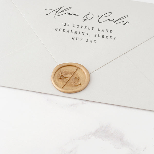 Gold Minimal Monogram Wax Seal | Heirloom Seals