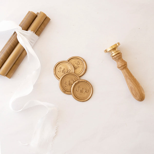 Elegant Gold Monogram Wax Seals for Fine Art Weddings | Heirloom Seals
